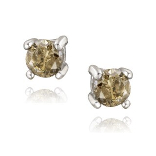 DB Designs Sterling Silver 1/8ct TDW Champagne Diamond Stud Earrings