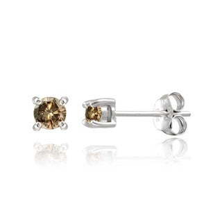 DB Designs Sterling Silver 1/8ct TDW Champagne Diamond Stud Earrings
