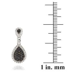 DB Designs Sterling Silver Champagne Diamond Accent Dangle Earrings