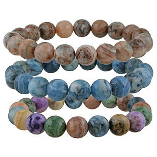 Glitzy Rocks Crazy Lace Agate Bead Stretch Bracelet