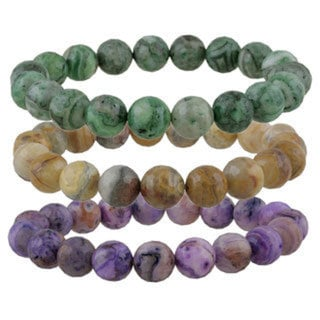 Glitzy Rocks Crazy Lace Agate Bead Stretch Bracelet