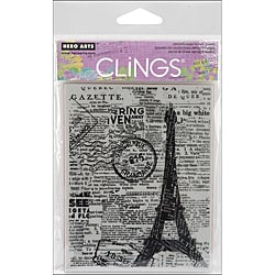 Hero Arts Newspaper Eiffel Tower Cling Stamps