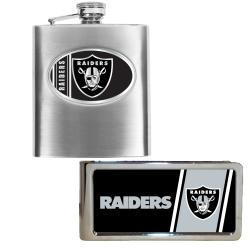 Oakland Raiders Hip Flask and Money Clip Set