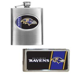 Baltimore Ravens Hip Flask and Money Clip Set