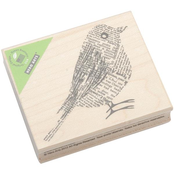Hero Arts Newsprint Bird Mounted Rubber Stamp 8994421