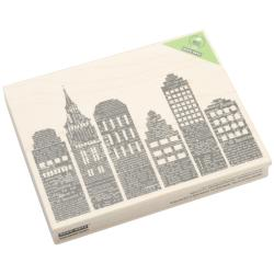 Hero Arts Newspaper Skyline Lightweight Wood-mounted Rubber Stamp