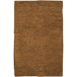 Hand-woven Brown Ashford Plush Shag Wool Rug (8' x 10'6 )
