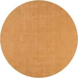 Hand-crafted Solid Beige Casual Majestic Wool Rug (8' Round)