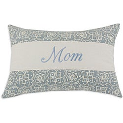 'Mom' Parker Surf Light blue/ White Embroidered Pillow