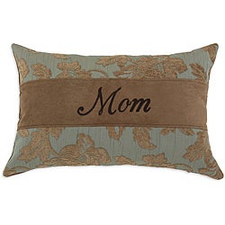 'Mom' Mandy Jade Embroidered Flocked Fabric Pillow