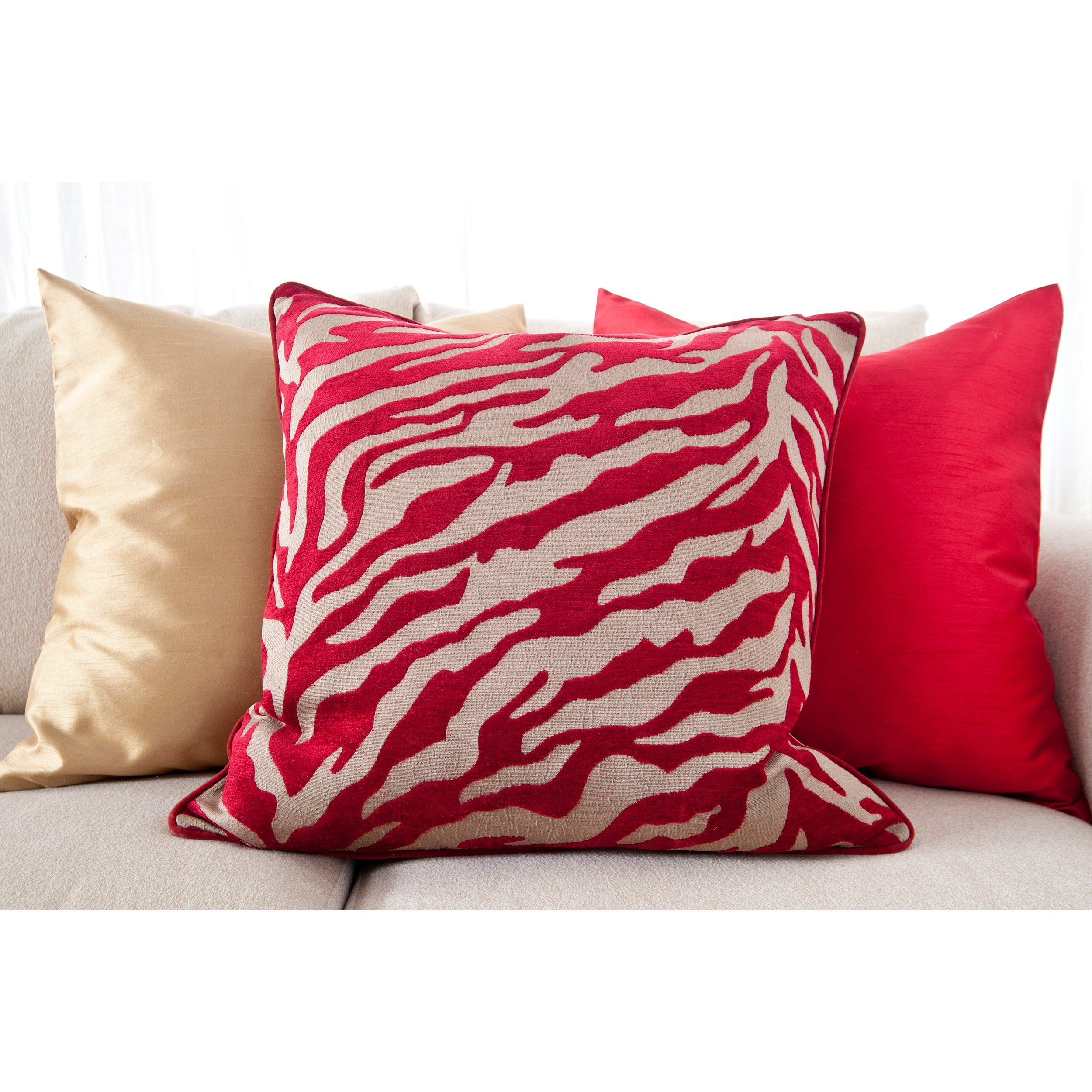 Radiant Red Decorative 18-inch Down Pillows (Set of 3)