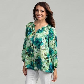 Kasper Women's Jade Green Floral Peasant Top