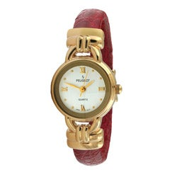 Peugeot Women's Goldtone Red Leather Watch