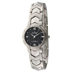 Peugeot Women's Black-Dial Silvertone Bracelet Watch