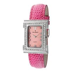 Peugeot Women's Silvertone Pink Leather Watch