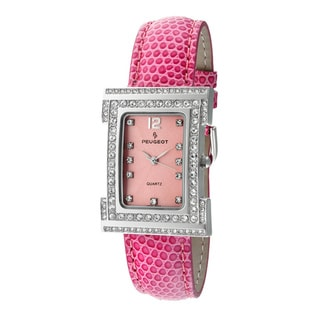 Peugeot Women's Silvertone Pink Leather Watch
