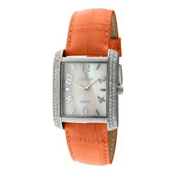 Peugeot Women's Orange Leather Strap Watch