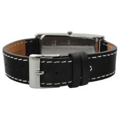 Peugeot Women's Silvertone Black Leather Strap Watch