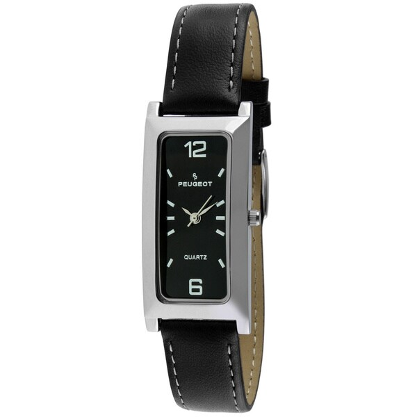 Peugeot Women's Black Dial Leather Strap Watch