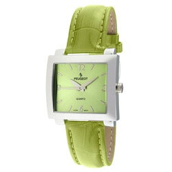 Peugeot Women's Silvertone Green Leather-Strap Watch