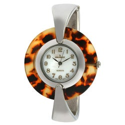 Peugeot Women's Silvertone Tortoise Face Cuff Watch