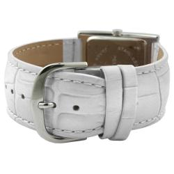 Peugeot Women's Silvertone Leather Strap Watch