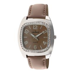 Peugeot Women's Silvertone Tan Leather Strap Watch