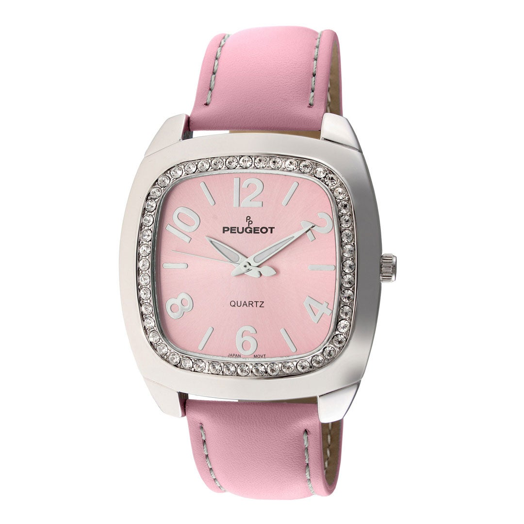 Peugeot Women's Silvertone Pink Leather Strap Watch