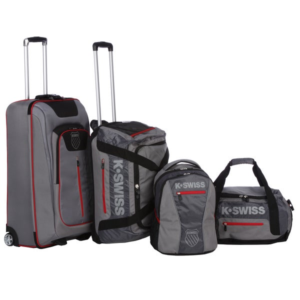 K-Swiss 'Tech Sport Collection' Grey 4-piece Upright/Duffel/Backpack Luggage Set