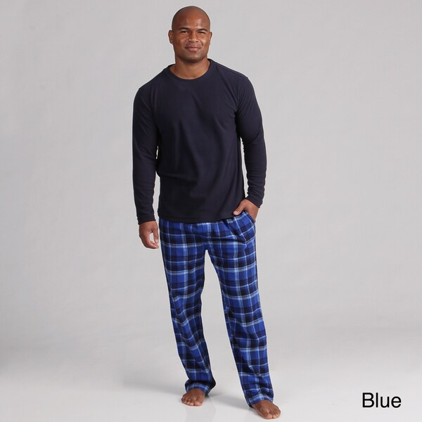 Perry Ellis Men's Microfleece Plaid Sleepwear Set