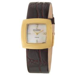 Skagen Women's 'Titanium' Yellow Gold Plated Crystals Watch