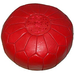 Moroccan Contemporary Leather Ottoman Red (Morocco)