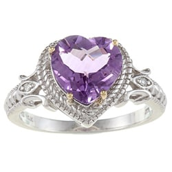 Meredith Leigh Silver and 14k Gold Amethyst and Diamond Heart Ring