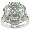 Meredith Leigh Silver and Gold Green Amethyst and 1/10ct TDW Diamond Ring (H-I, I2-I3)