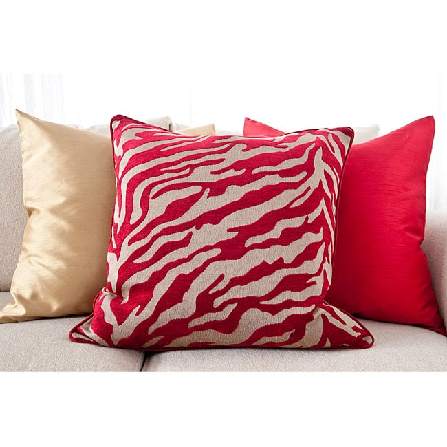 Radiant Red Square 18-inch Decorative Pillows (Set of 3)