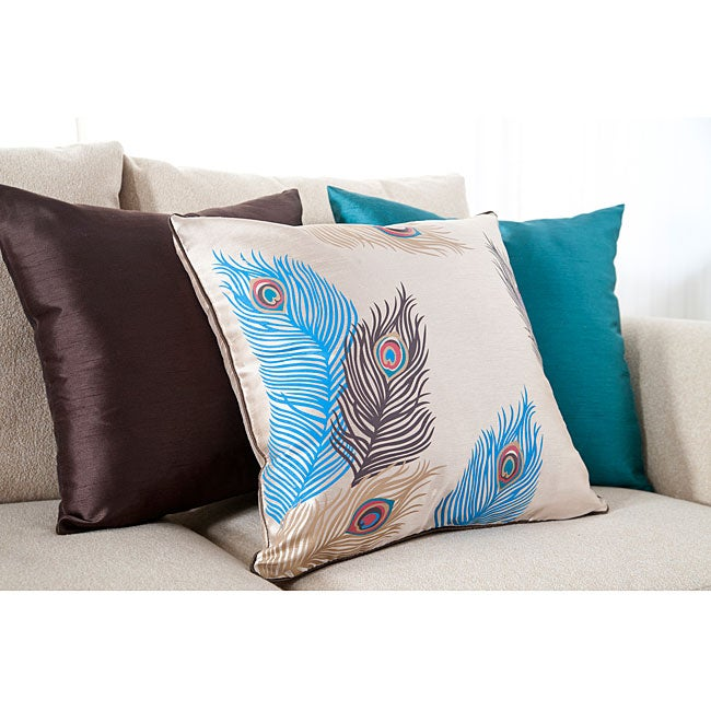 Feathered 18-inch Square Decorative Pillows (Set of 3)