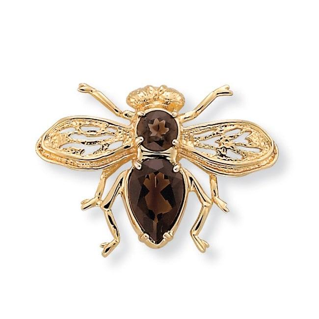 PalmBeach 14k Goldplated Smoky Quartz Bee Pin
