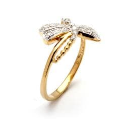 Isabella Collection 18k Gold over Silver Diamond Accent Dragonfly Ring