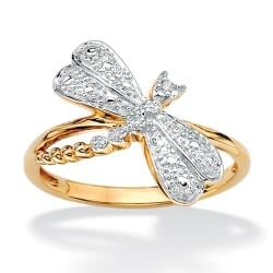 PalmBeach 18k Gold over Silver Diamond Accent Dragonfly Ring