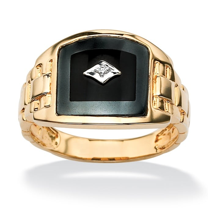PalmBeach Men's Reconstituted Onyx with Diamond Accents 18k Gold over Sterling Silver Classic Ring