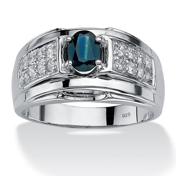 PalmBeach Men's 1.53 TCW Oval-Cut Genuine Midnight Blue Sapphire and Cubic Zirconia Ring in Sterling
