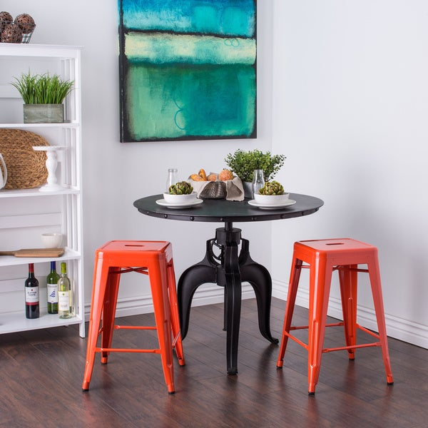 Tabouret 24-inch Tangerine Metal Counter Stools (Set of 2)