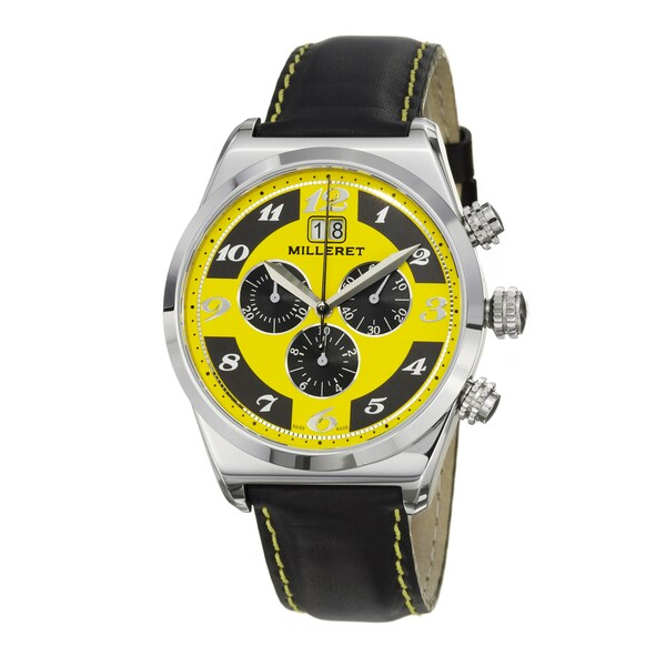 Milleret Men's 'XXL' Stainless-Steel Black Yellow-Stitching Leather Chronograph Watch