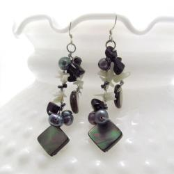 Handmade Grey Mother of Pearl Cluster Dancer Earrings (Thailand)