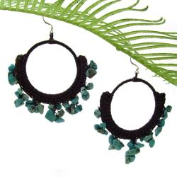 Blue Turquoise Stone Chandelier Hoop Earrings (Thailand)