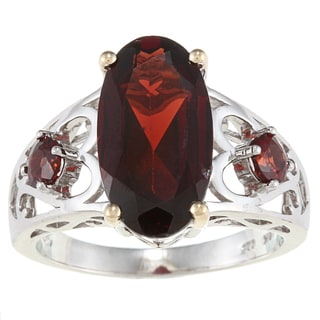 Meredith Leigh Sterling Silver and 14k Yellow Gold Garnet Ring