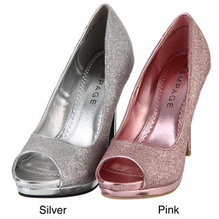 Rampage Women's 'Gracee' Glitter Peep-toe Pumps