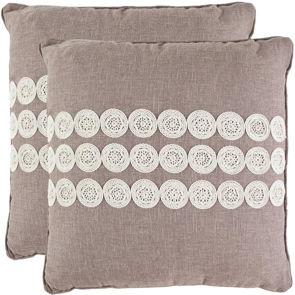 Safavieh Journey 18-inch Taupe Decorative Pillows (Set of 2)