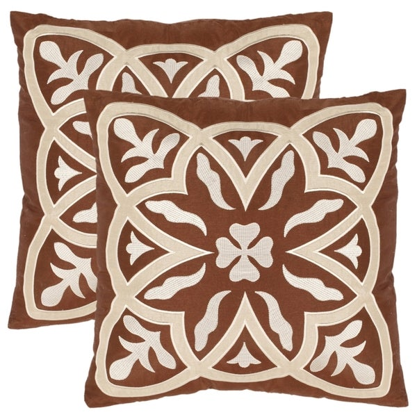 Safavieh Elegance 18-inch Brown Decorative Pillows (Set of 2)