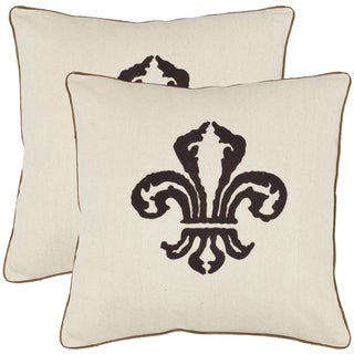 Fleur-de-lis 18-inch Beige Decorative Pillows (Set of 2)